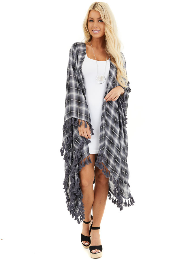 Charcoal Plaid Asymmetrical Kimono with Tassel Details front full body