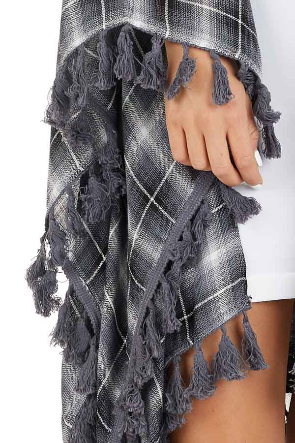 Charcoal Plaid Asymmetrical Kimono with Tassel Details detail