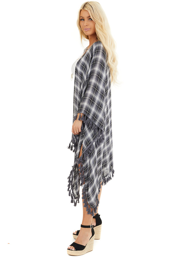 Charcoal Plaid Asymmetrical Kimono with Tassel Details side full body