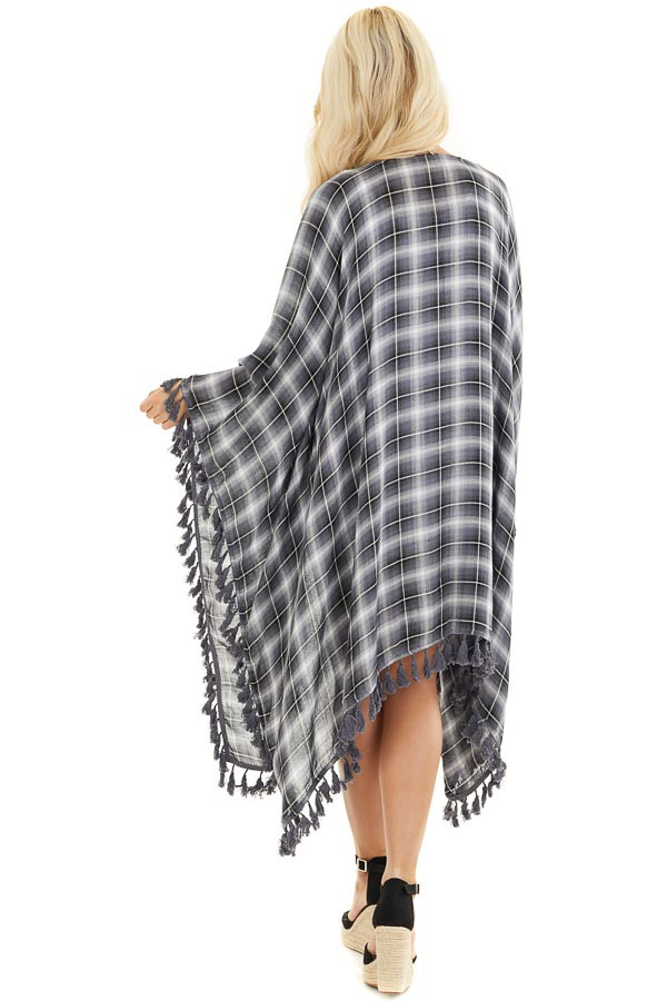 Charcoal Plaid Asymmetrical Kimono with Tassel Details back full body