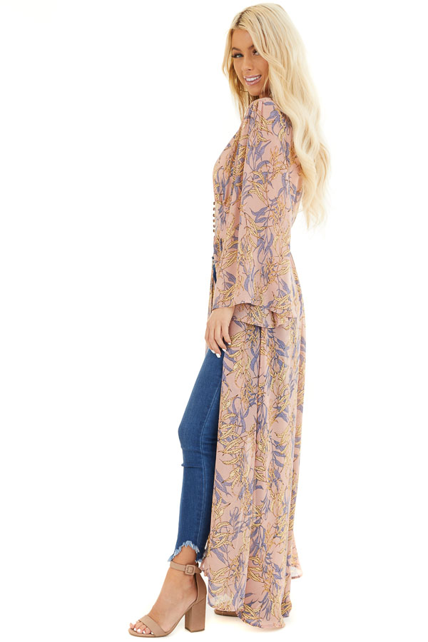 Dusty Rose Patterned Chiffon Kimono with Trumpet Sleeves side full body