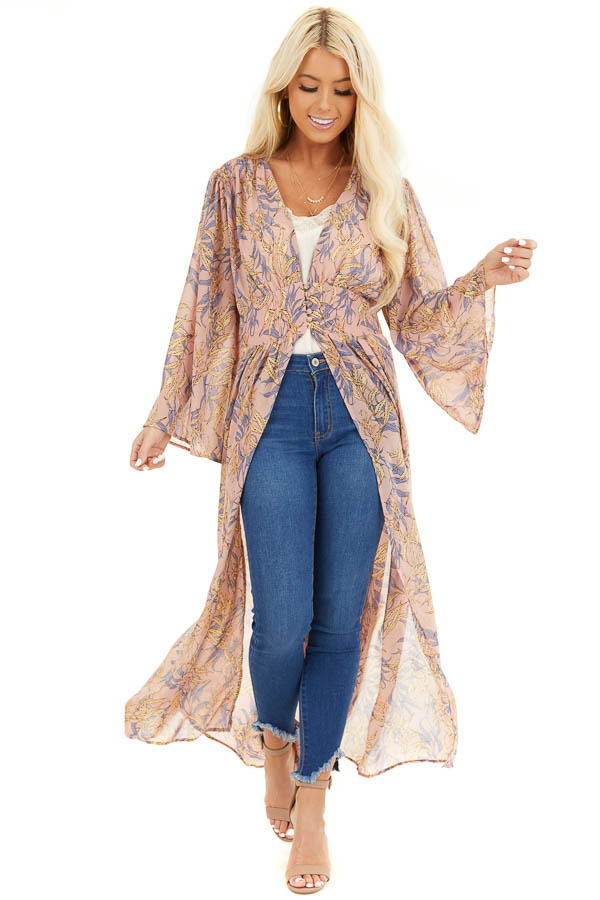Dusty Rose Patterned Chiffon Kimono with Trumpet Sleeves front full body