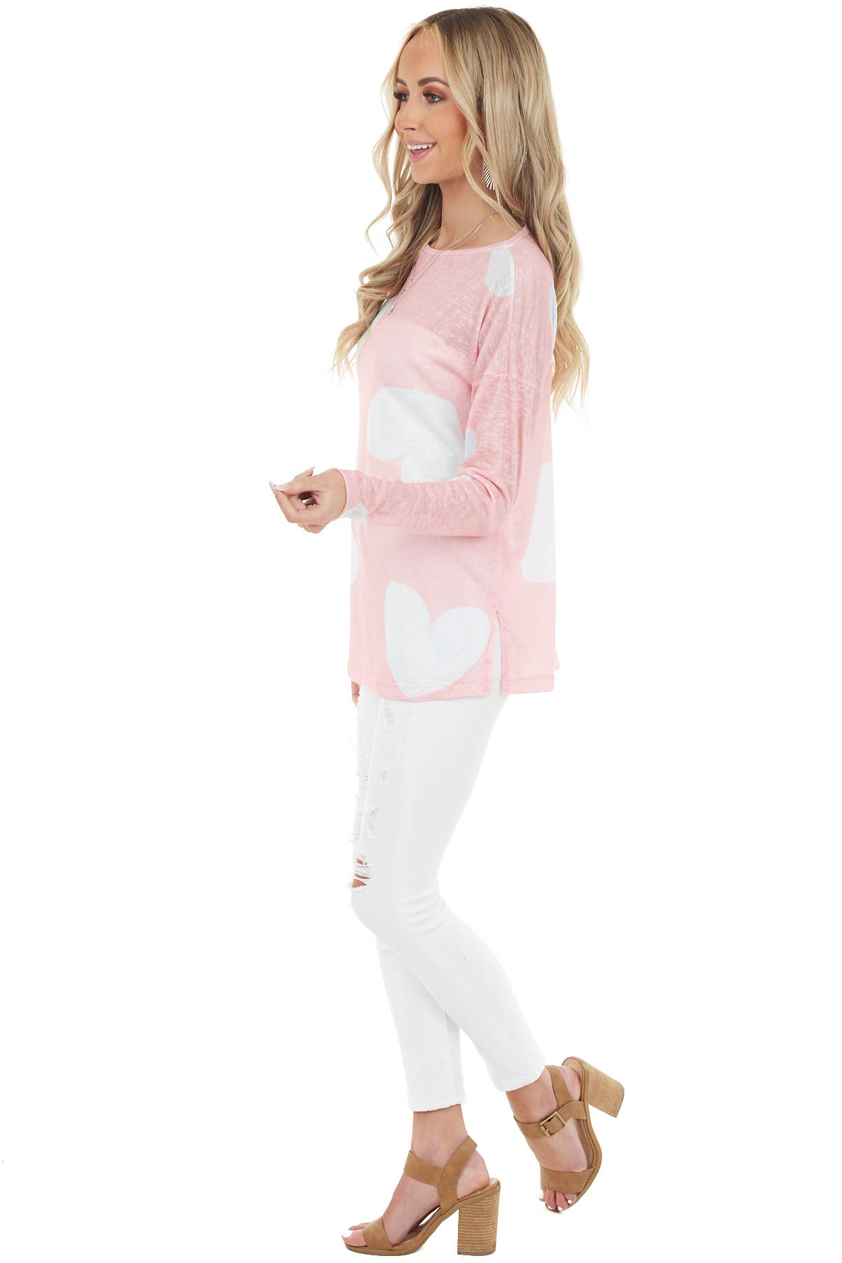 Baby Pink and Off White Heart Print Top with Long Sleeves
