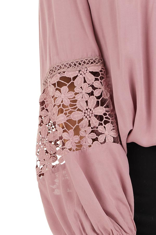 Dusty Rose Long Sleeve Top with Floral Lace Details detail