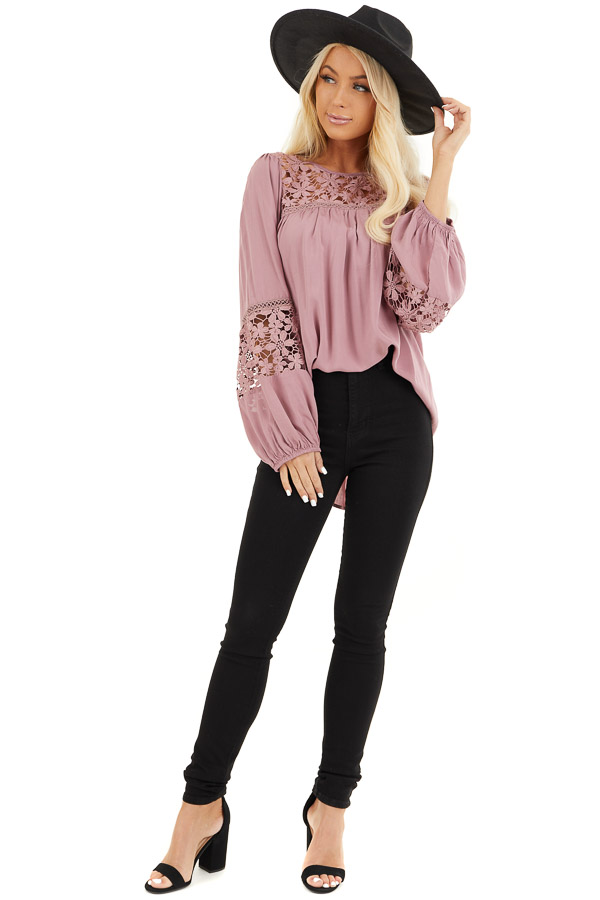 Dusty Rose Long Sleeve Top with Floral Lace Details front full body