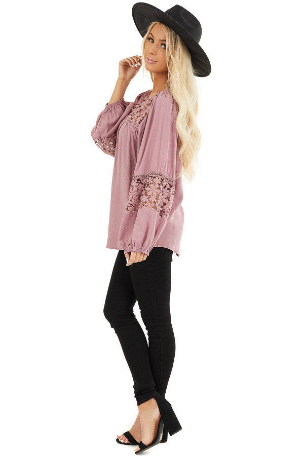 Dusty Rose Long Sleeve Top with Floral Lace Details side full body