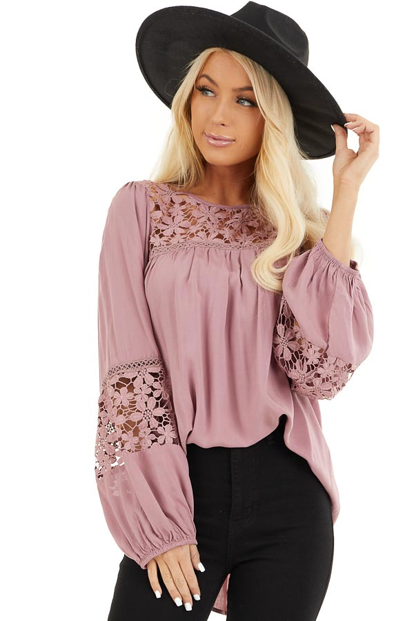 Dusty Rose Long Sleeve Top with Floral Lace Details front close up