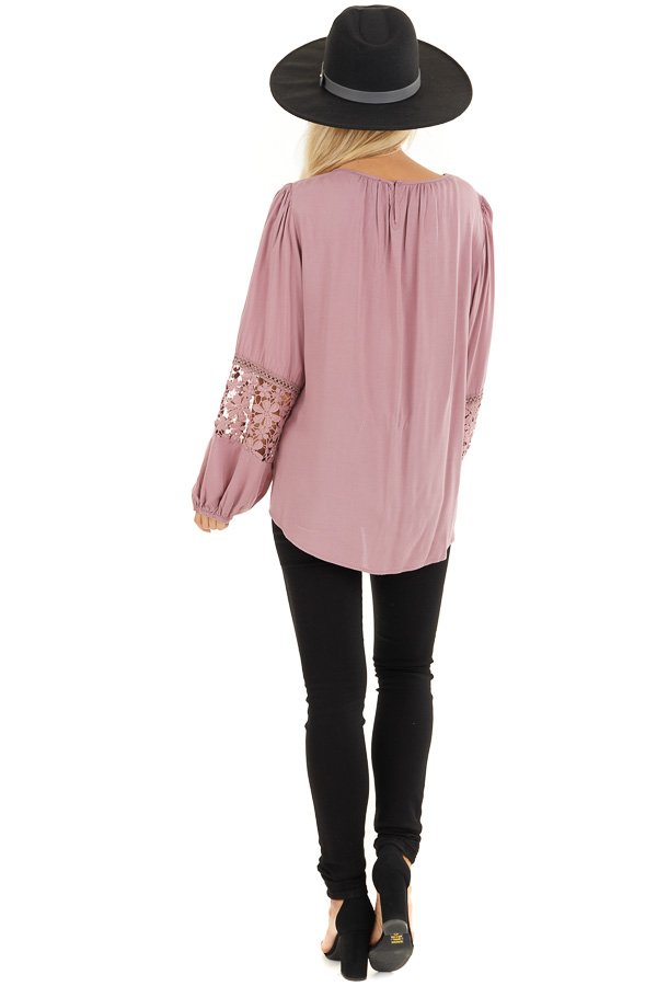 Dusty Rose Long Sleeve Top with Floral Lace Details back full body
