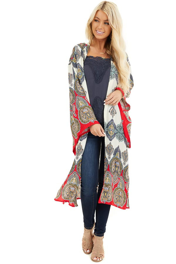 Mint Multicolor Printed Kimono with Long Sleeves front full body