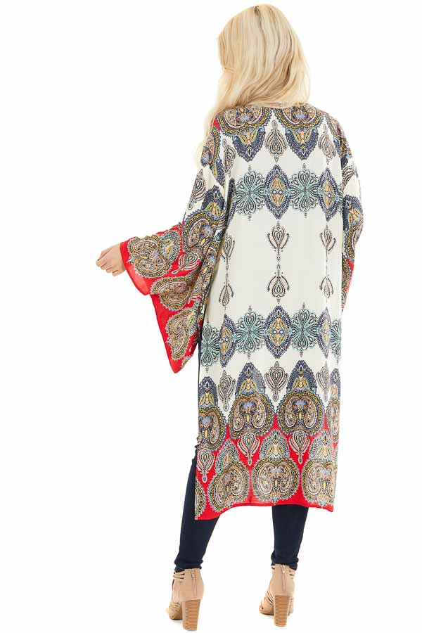 Mint Multicolor Printed Kimono with Long Sleeves back full body
