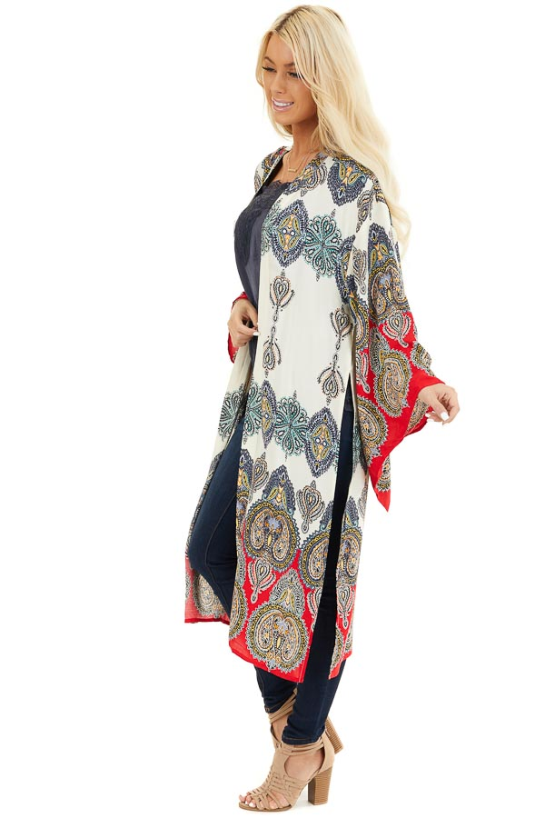 Mint Multicolor Printed Kimono with Long Sleeves side full body