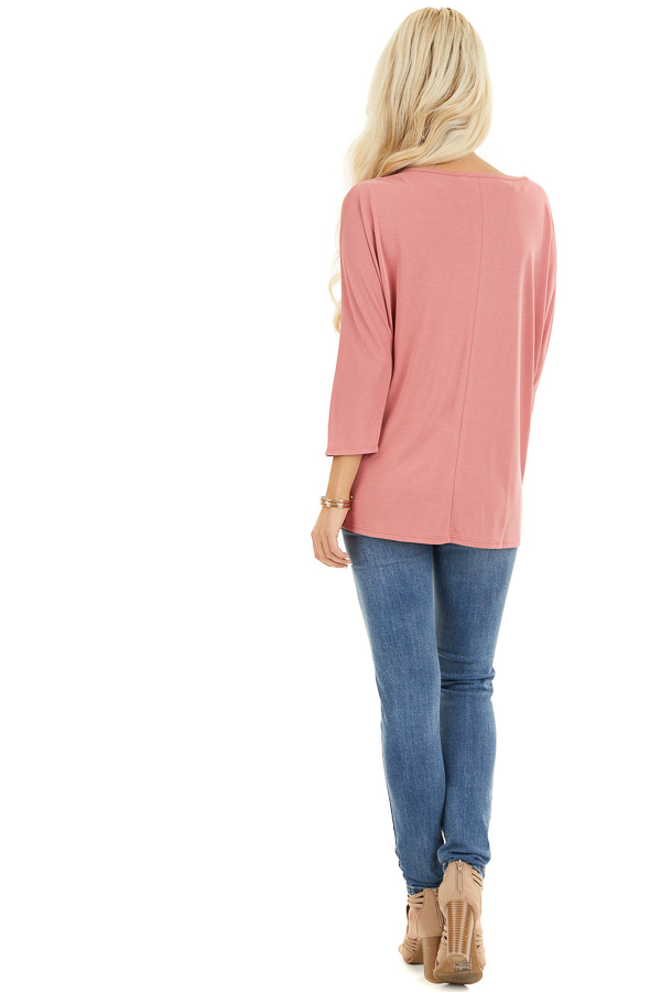 Coral Draped Knit Cold Shoulder Top with 3/4 Sleeves back full body
