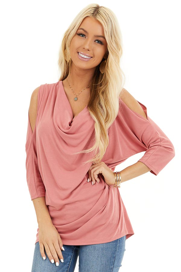 Coral Draped Knit Cold Shoulder Top with 3/4 Sleeves front close up