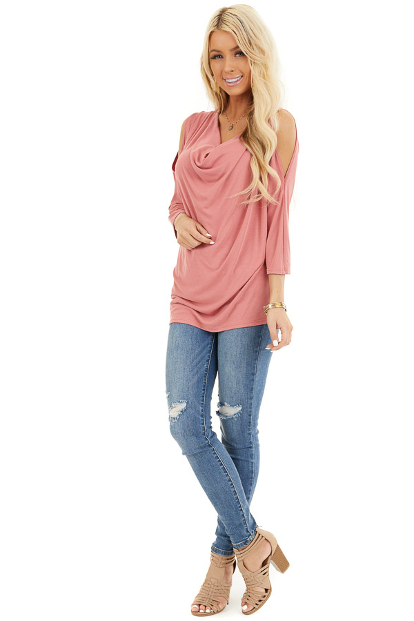 Coral Draped Knit Cold Shoulder Top with 3/4 Sleeves front full body