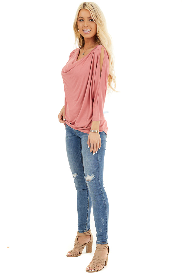 Coral Draped Knit Cold Shoulder Top with 3/4 Sleeves side full body