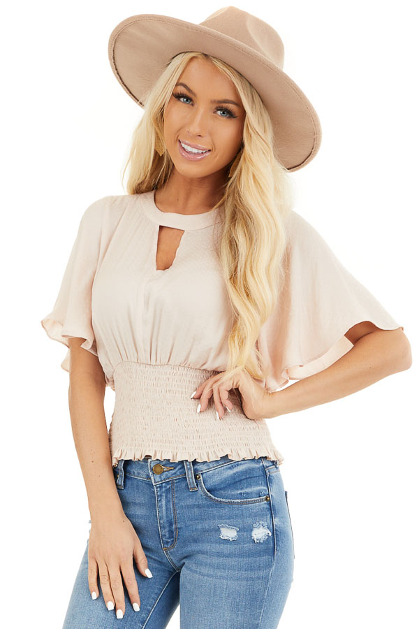 Blush Silky Top with Bell Sleeves and Smocked Bottom Detail front close up