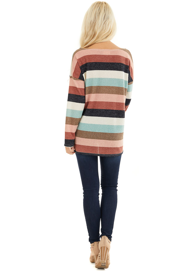 Cream Brick and Dark Mint Striped Top with Long Sleeves back full body