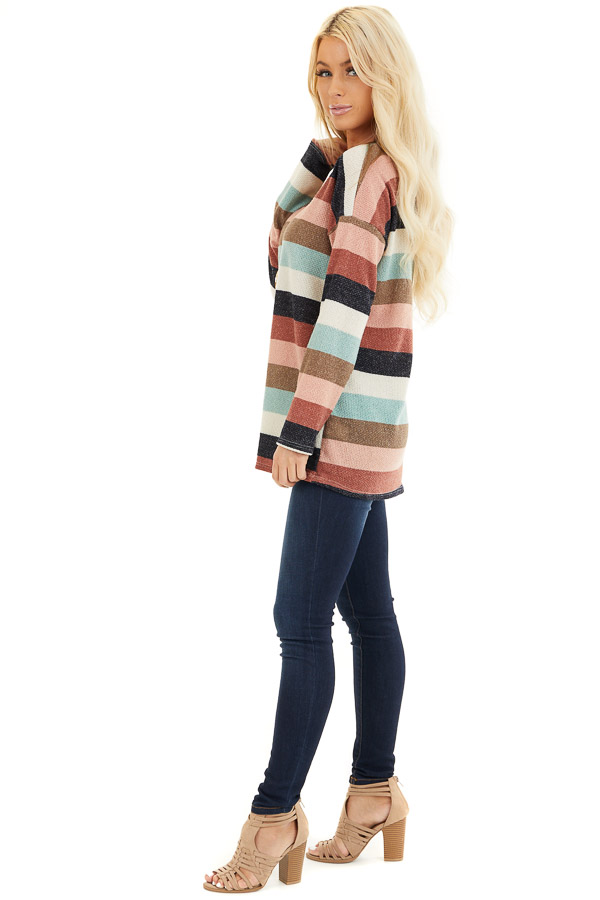 Cream Brick and Dark Mint Striped Top with Long Sleeves side full body