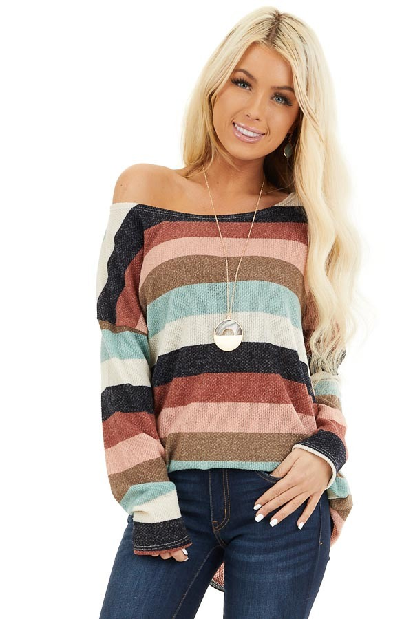 Cream Brick and Dark Mint Striped Top with Long Sleeves front close up