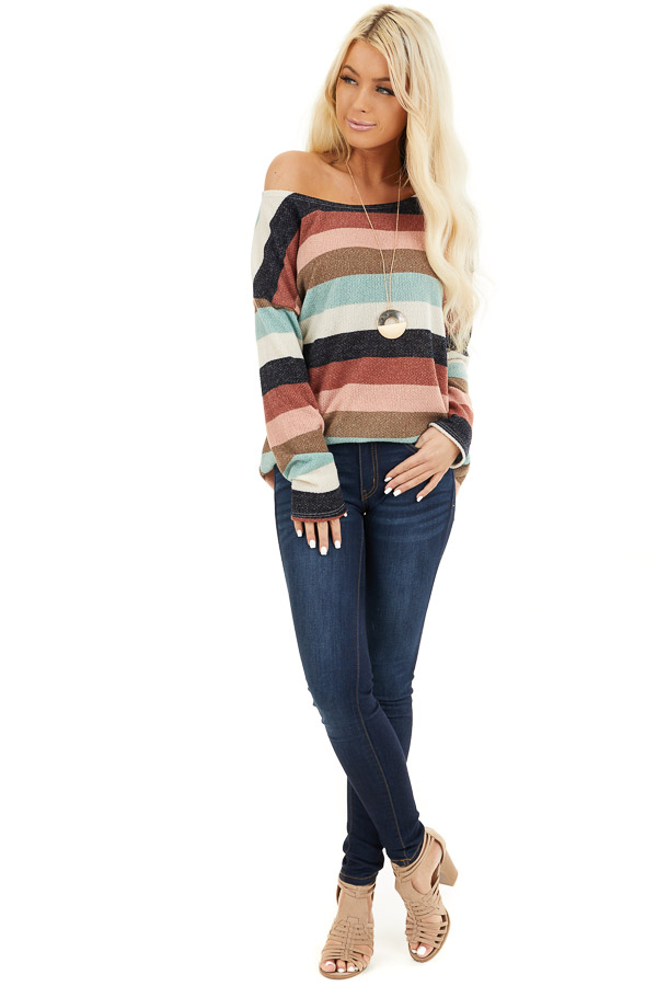 Cream Brick and Dark Mint Striped Top with Long Sleeves front full body