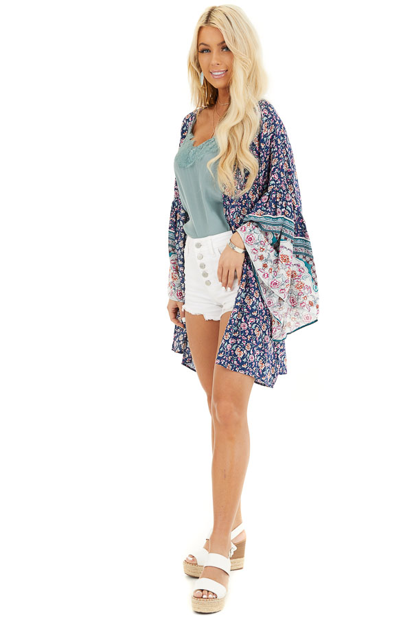 Navy Floral Print Kimono with Wide Bell Sleeves front full body