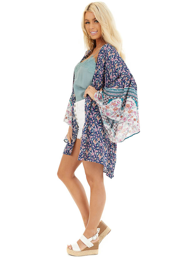 Navy Floral Print Kimono with Wide Bell Sleeves side full body