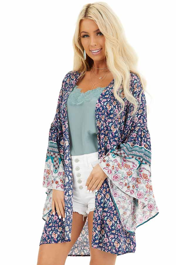 Navy Floral Print Kimono with Wide Bell Sleeves front close up