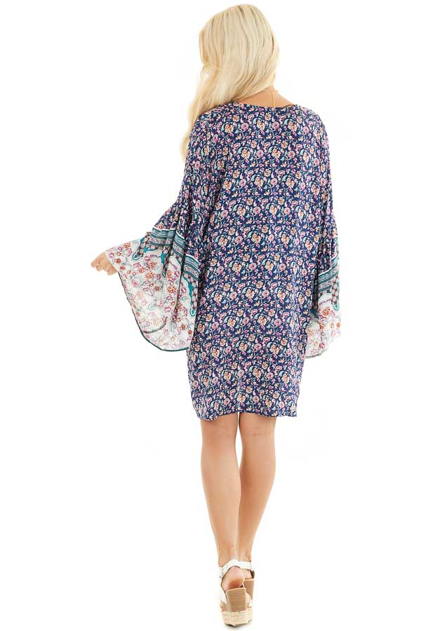 Navy Floral Print Kimono with Wide Bell Sleeves back full body