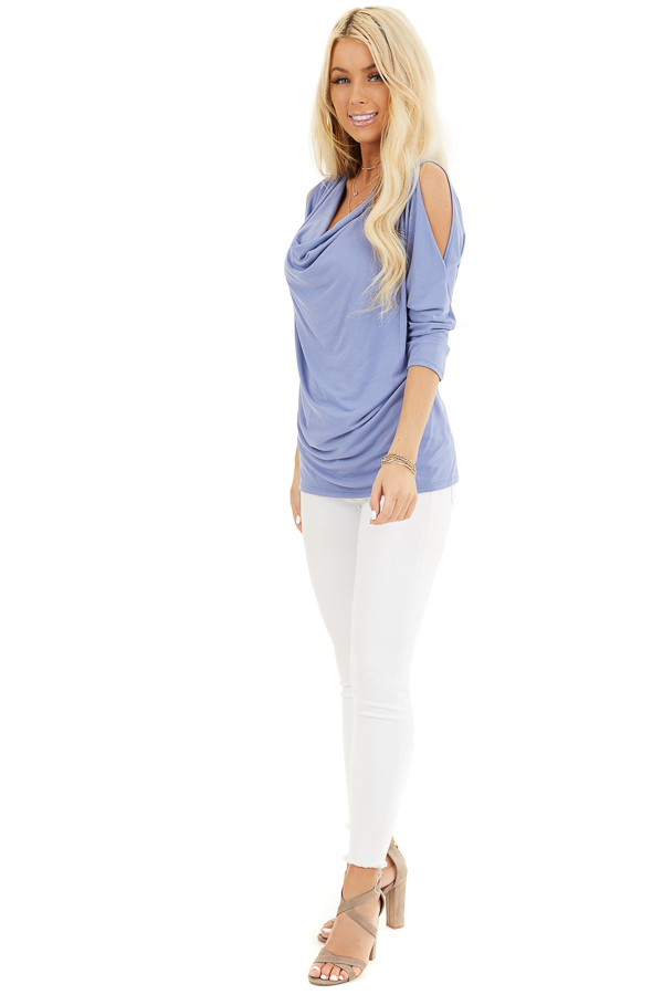 Dusty Blue Draped Cold Shoulder Top with 3/4 Sleeves front full body