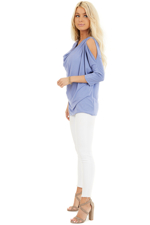 Dusty Blue Draped Cold Shoulder Top with 3/4 Sleeves side full body