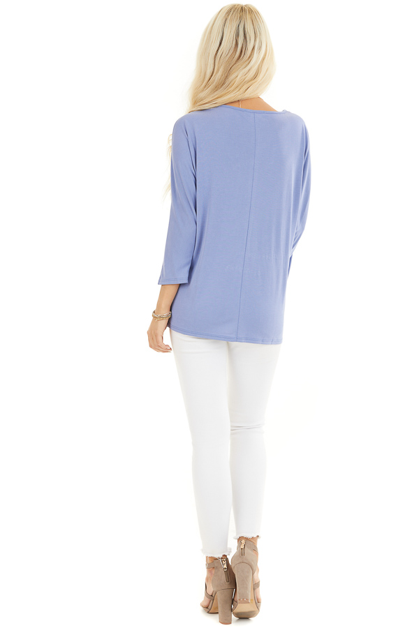 Dusty Blue Draped Cold Shoulder Top with 3/4 Sleeves back full body