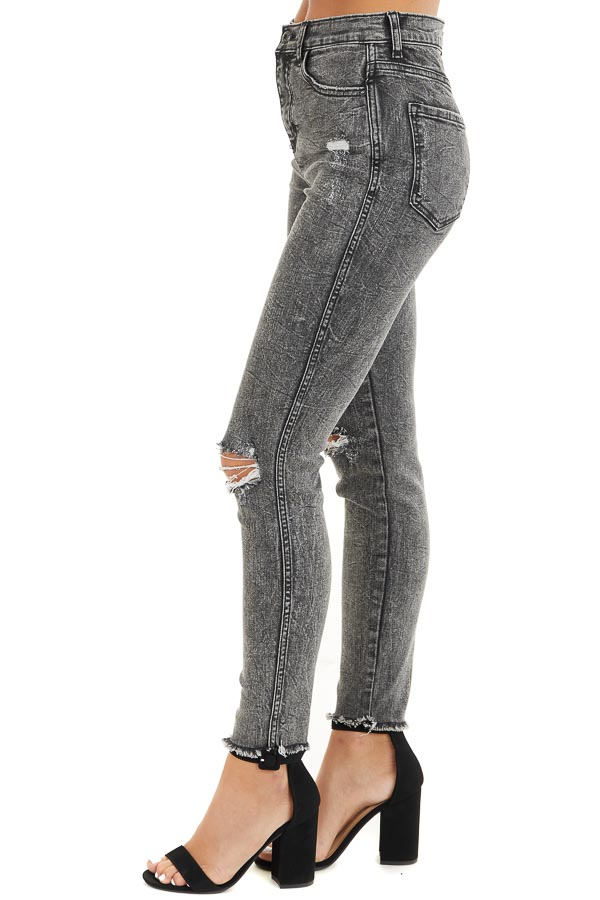 Black Wash High Rise Distressed Skinny Jeans side view