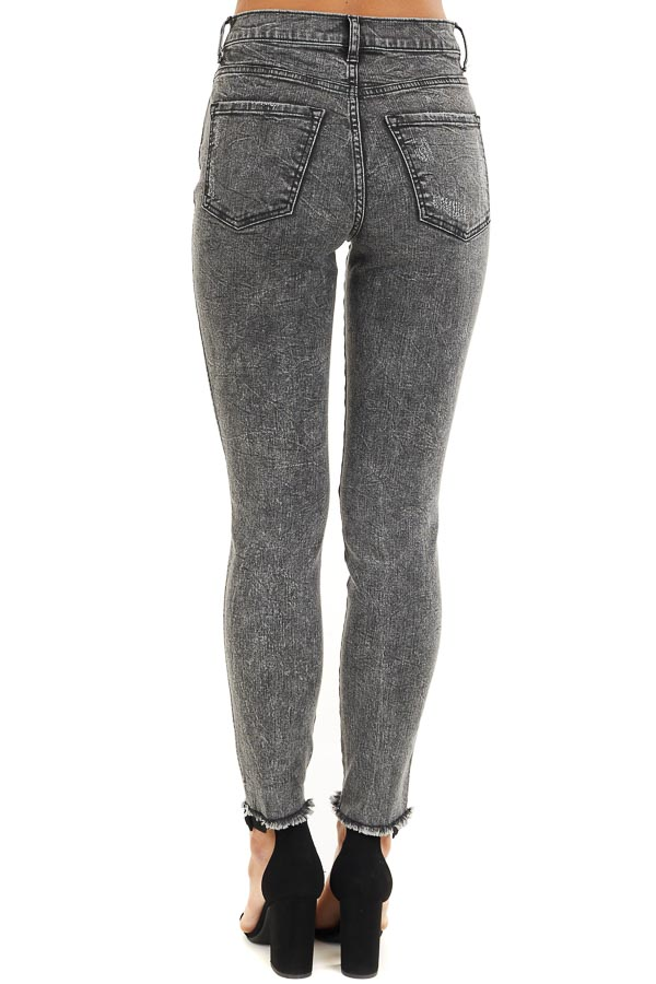 Black Wash High Rise Distressed Skinny Jeans back view