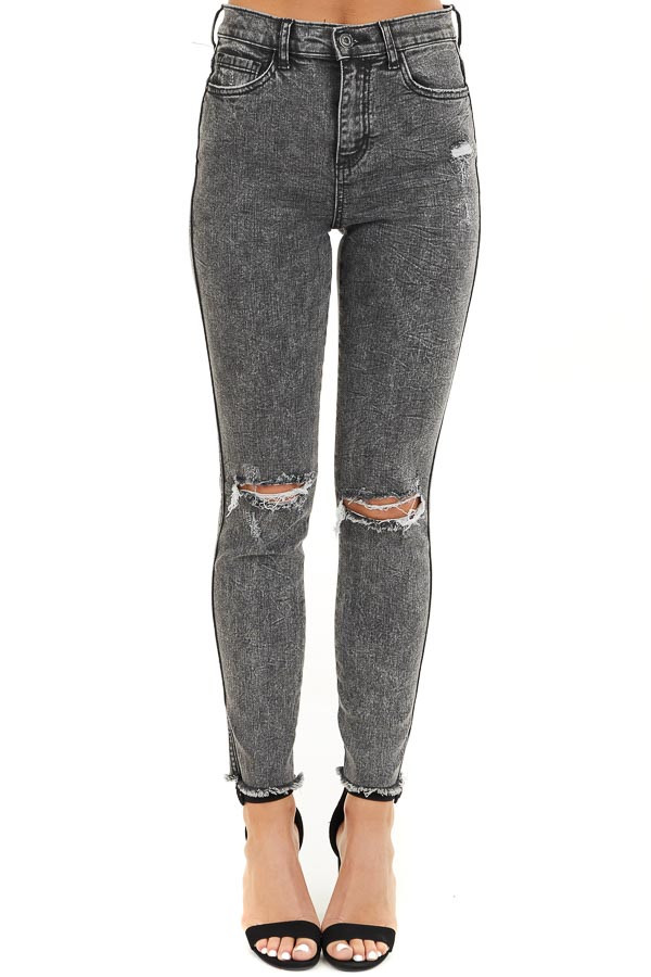 Black Wash High Rise Distressed Skinny Jeans front view