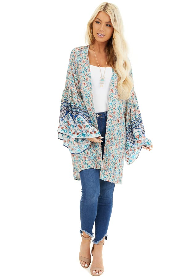 Beige and Teal Floral Print Kimono with Wide Bell Sleeves front full body