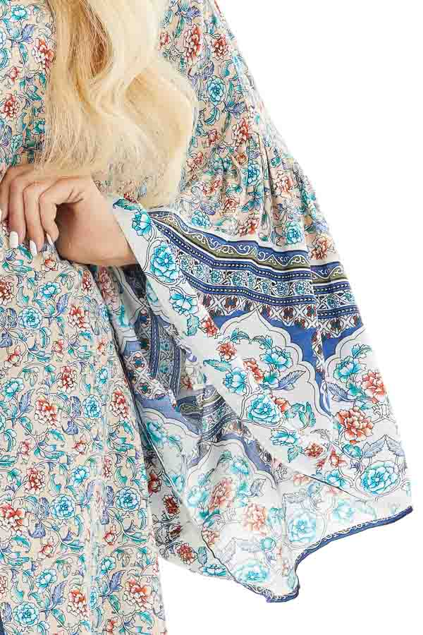Beige and Teal Floral Print Kimono with Wide Bell Sleeves detail