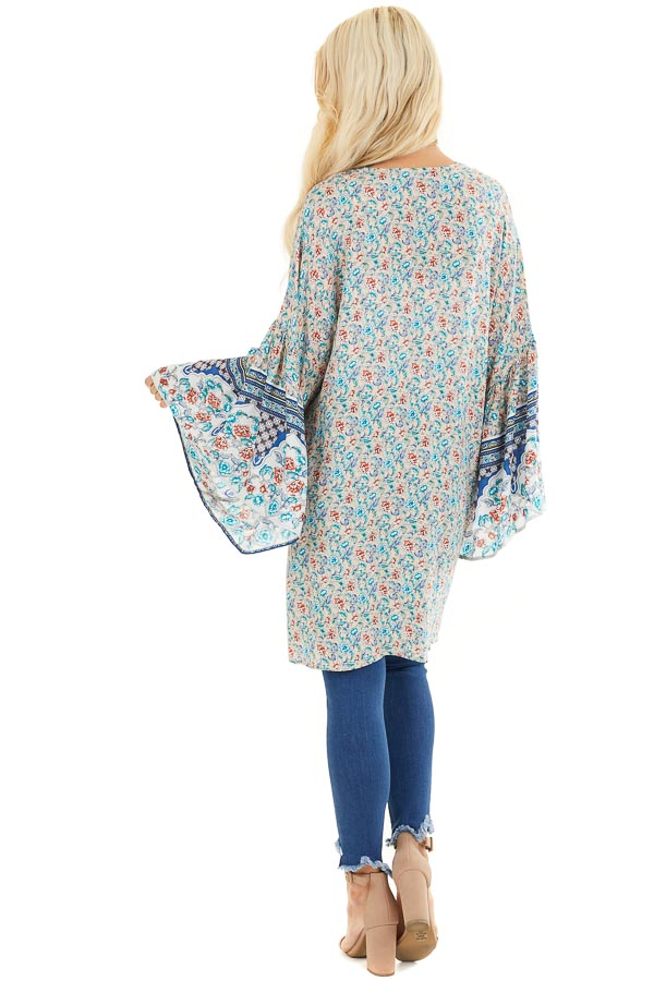 Beige and Teal Floral Print Kimono with Wide Bell Sleeves back full body