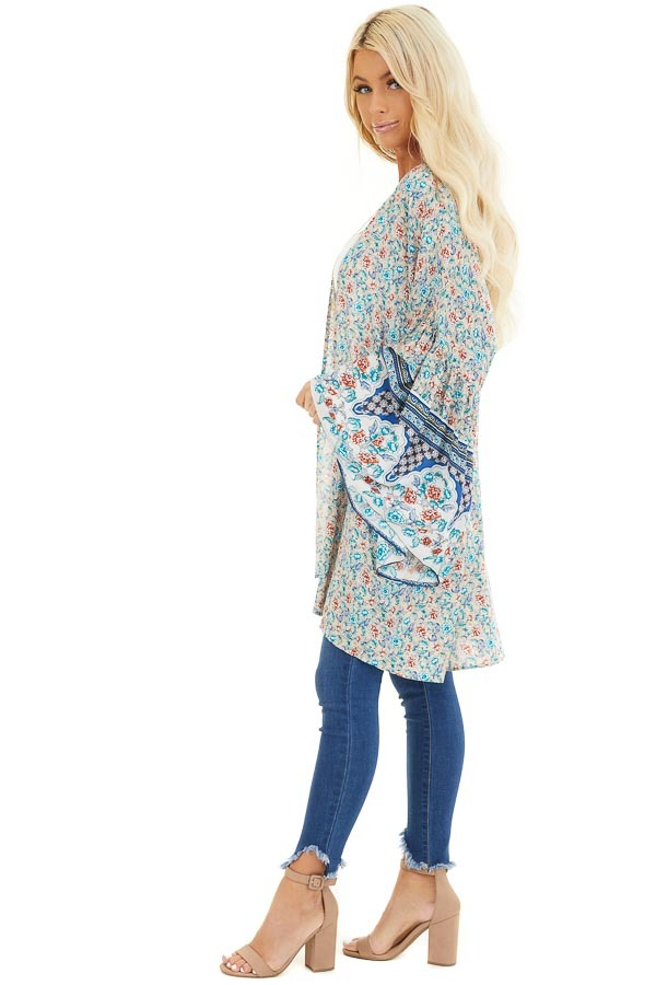 Beige and Teal Floral Print Kimono with Wide Bell Sleeves side full body