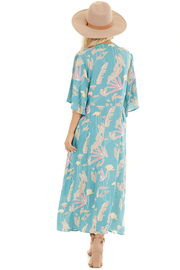 Teal Floral Print Kimono with Short Ruffle Sleeves back full body