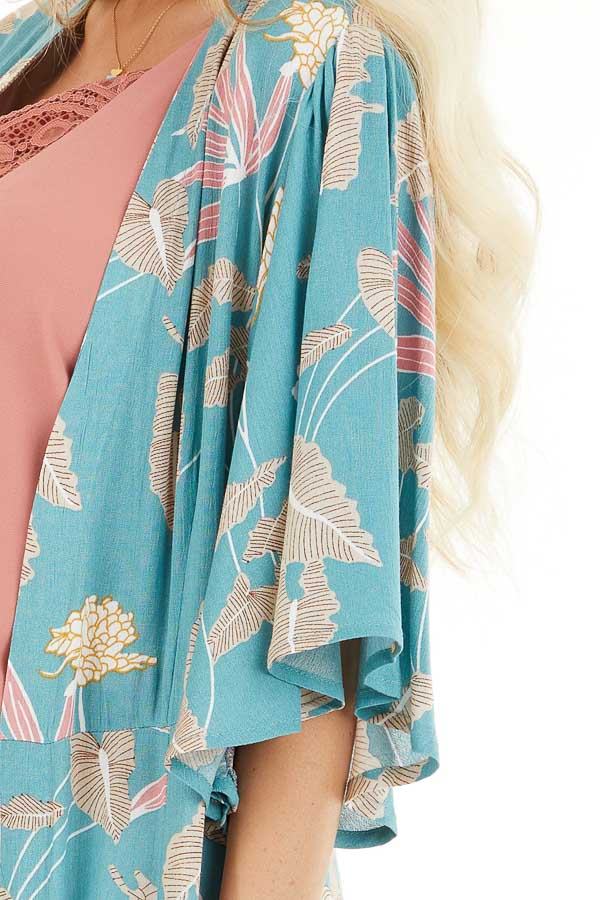 Teal Floral Print Kimono with Short Ruffle Sleeves