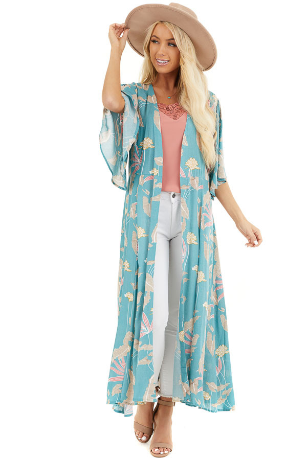 Teal Floral Print Kimono with Short Ruffle Sleeves front full body