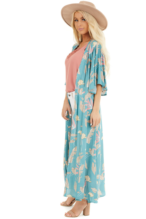 Teal Floral Print Kimono with Short Ruffle Sleeves side full body