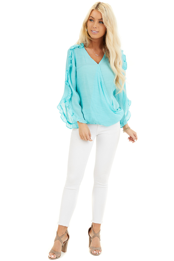 Aqua Deep V Neck Blouse with Long Sleeve Ruffle Details front full body