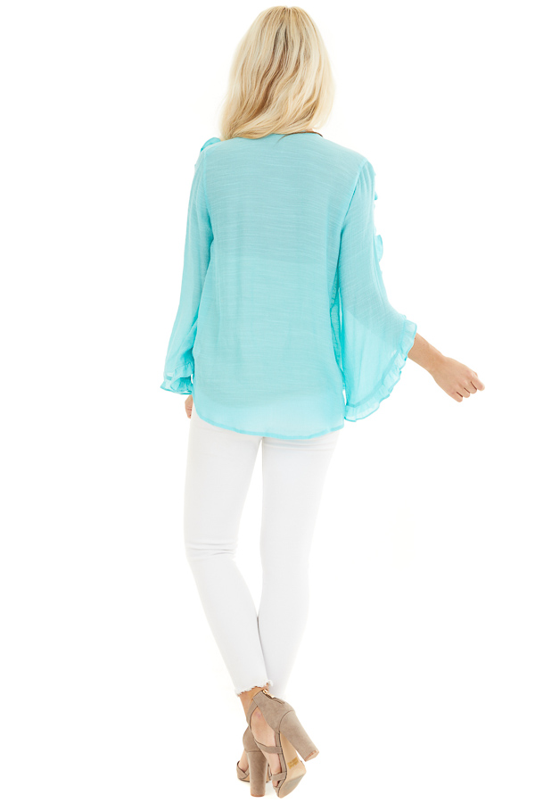 Aqua Deep V Neck Blouse with Long Sleeve Ruffle Details back full body