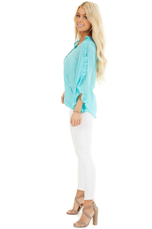 Aqua Deep V Neck Blouse with Long Sleeve Ruffle Details side full body