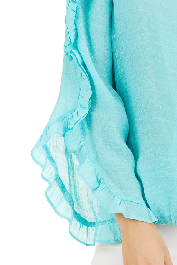 Aqua Deep V Neck Blouse with Long Sleeve Ruffle Details detail