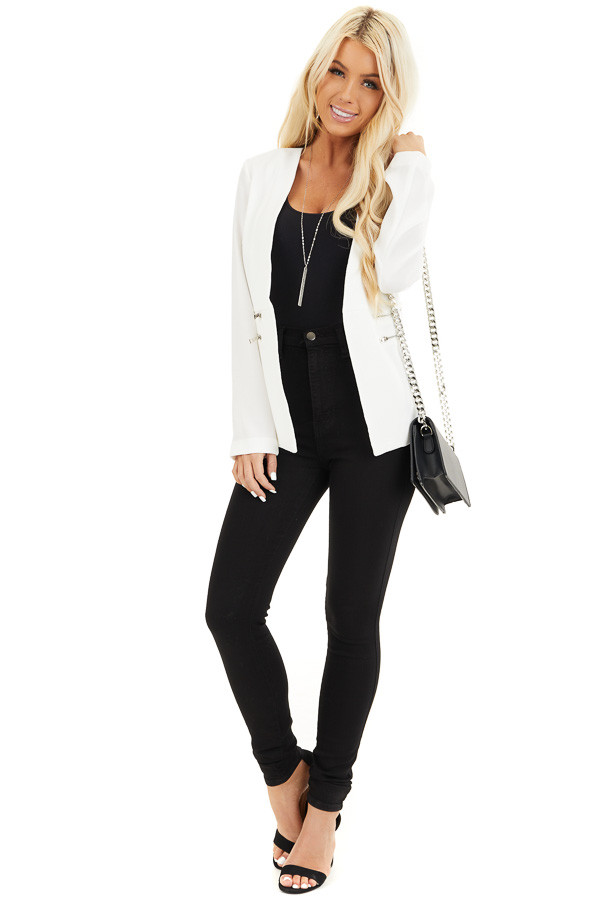 Pearl White Open Front Long Sleeve Blazer with Faux Pockets front full body