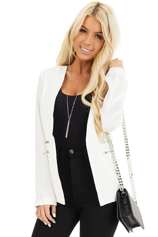 Pearl White Open Front Long Sleeve Blazer with Faux Pockets front close up
