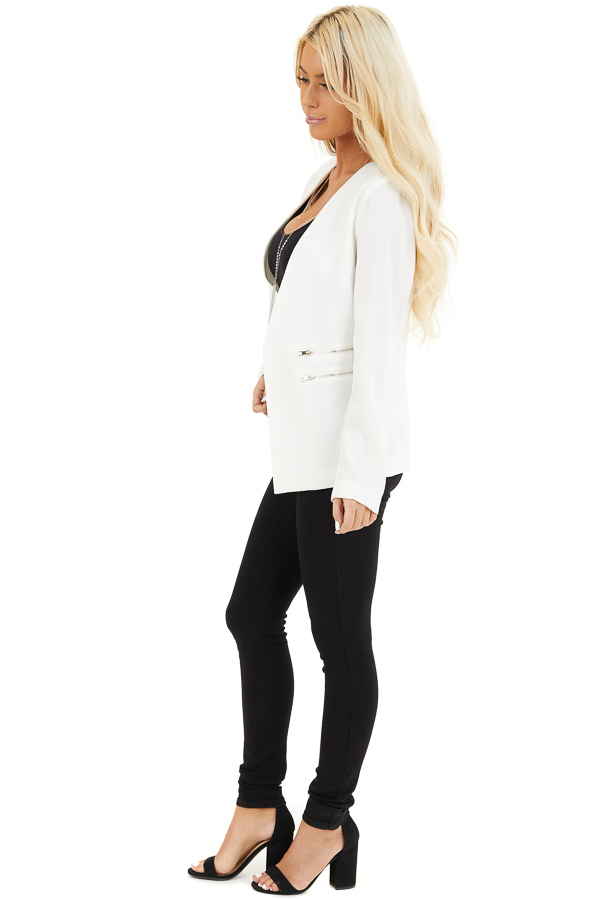 Pearl White Open Front Long Sleeve Blazer with Faux Pockets side full body