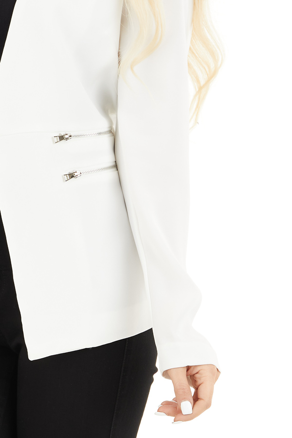 Pearl White Open Front Long Sleeve Blazer with Faux Pockets detail